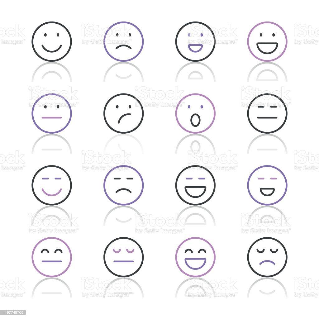 Emoji Icons set 1/púrpura, serie de la línea - ilustración de arte vectorial