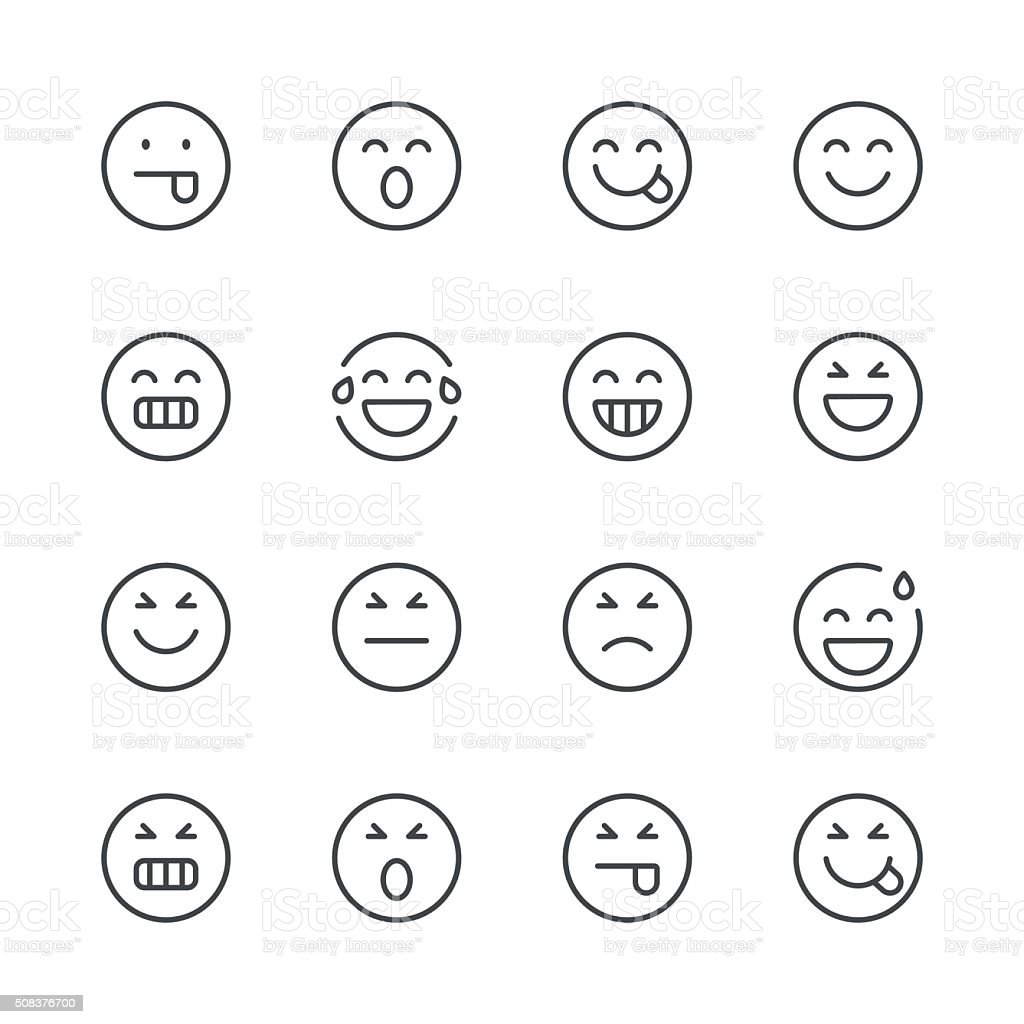 Emoji Icons set 2 | Black Line series vector art illustration