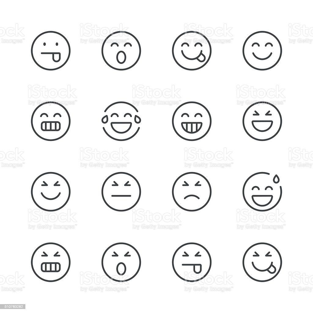 Emoji-Icons Satz 2/Schwarz Linie Serie – Vektorgrafik
