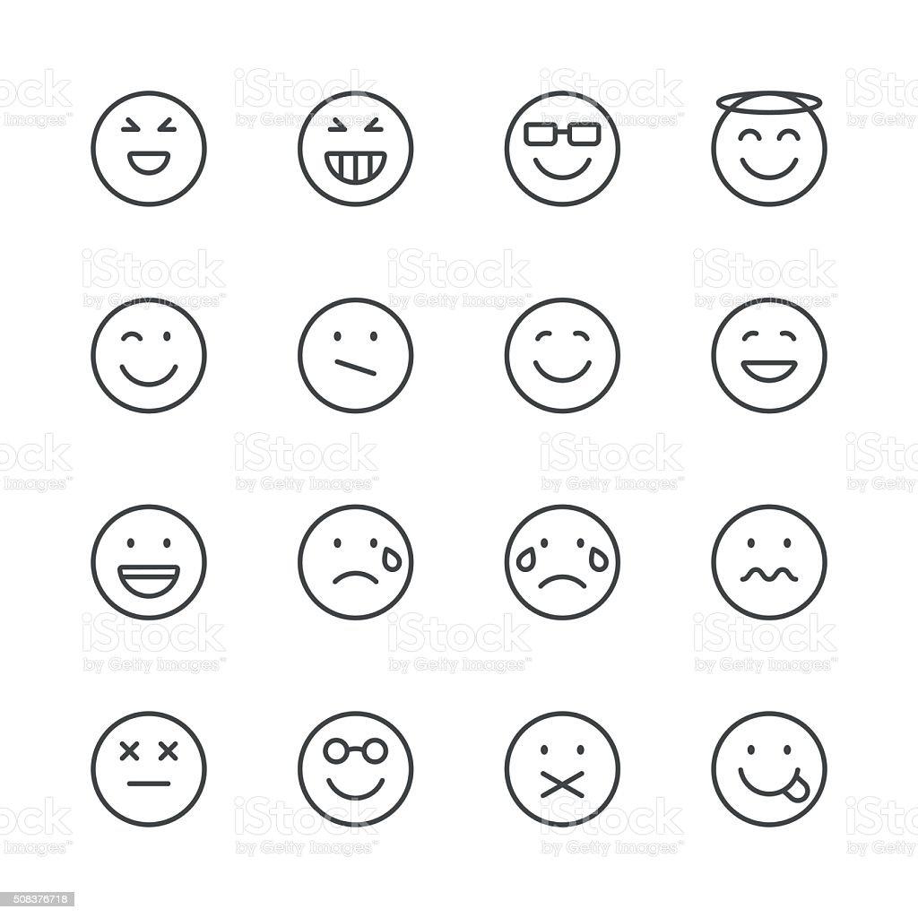 Emoji icônes ensemble 3/Black Ligne série - Illustration vectorielle