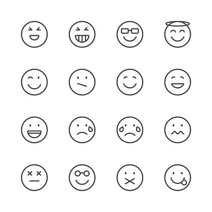 Emoji Icons set 3   Black Line series