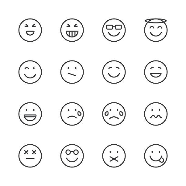 Emoji Icons set 3 | Black Line series Set of 16 professional and pixel perfect icons ready to be used in all kinds of design projects. EPS 10 file. blinking stock illustrations