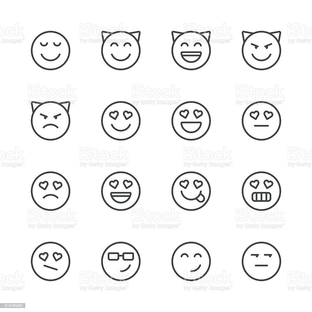 Emoji Icons set 4 | Black Line series vector art illustration
