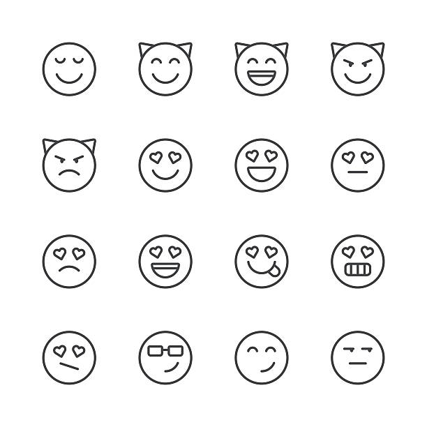 emoji icons set 4 | black line series - jealous emoji stock illustrations, clip art, cartoons, & icons