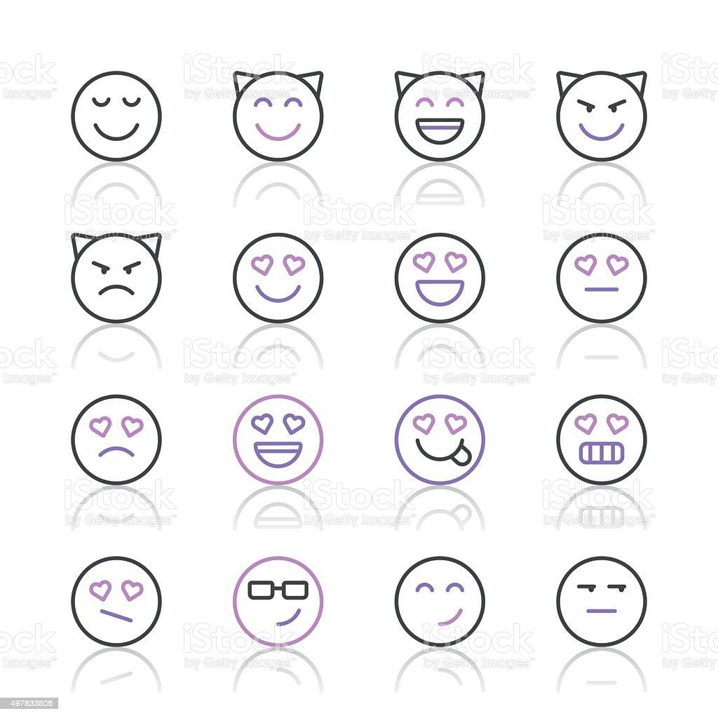 Emoji Icons set 4 | Purple Line series vector art illustration