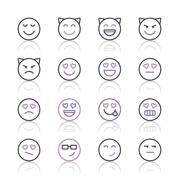 ilustraciones, imágenes clip art, dibujos animados e iconos de stock de emoji icons set 4/púrpura, serie de la línea - emoji celoso