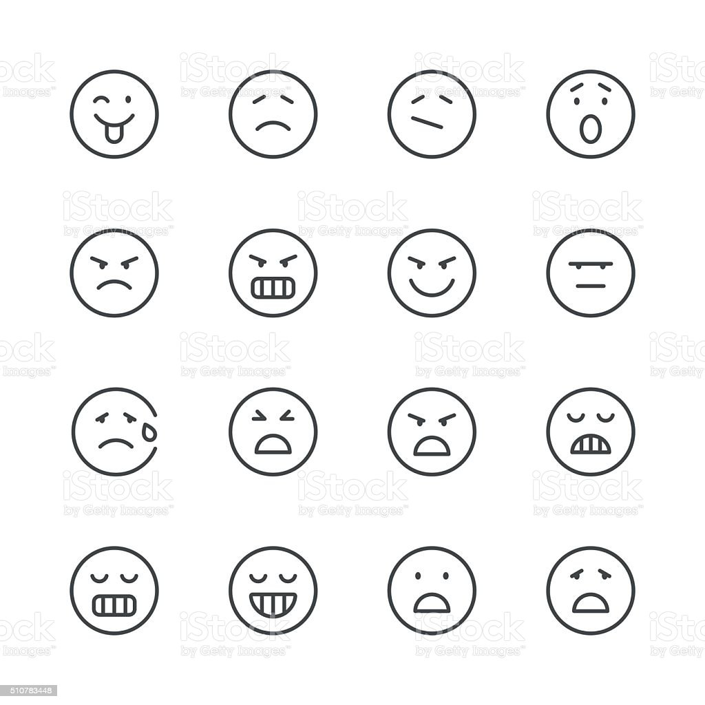 Emoji Icons set 6 | Black Line series vector art illustration