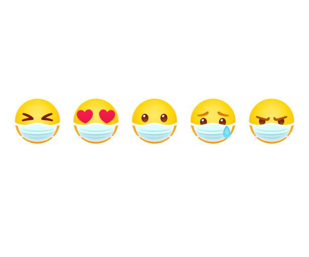Emoji in face mask vector art illustration