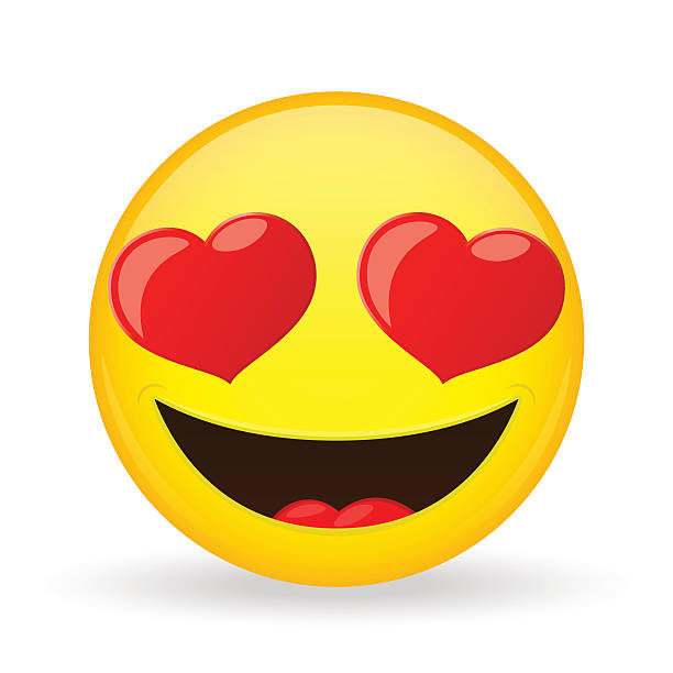 Emoji in love. Emotion of happiness. Amorously smiling emoticon. - Illustration vectorielle
