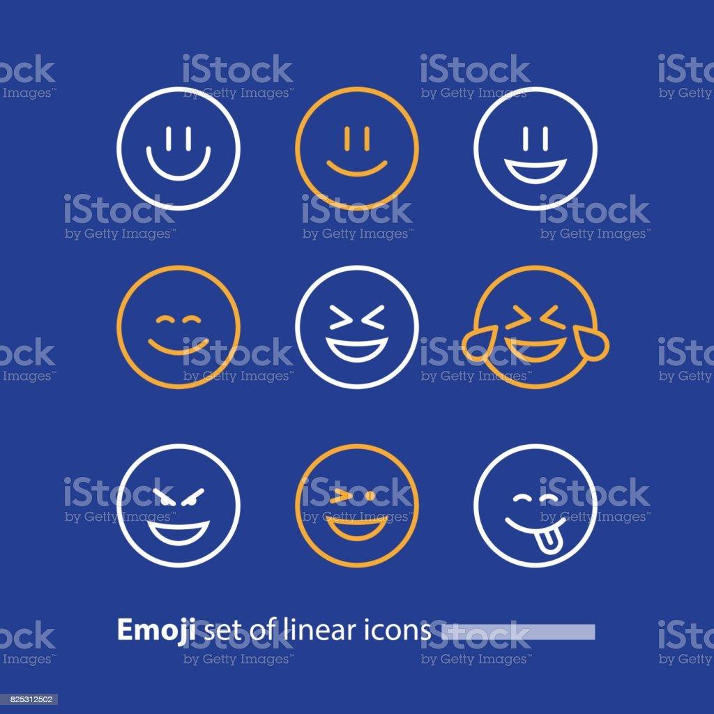Emoji line icons, smile symbol, emotions and feelings expressing vector art illustration