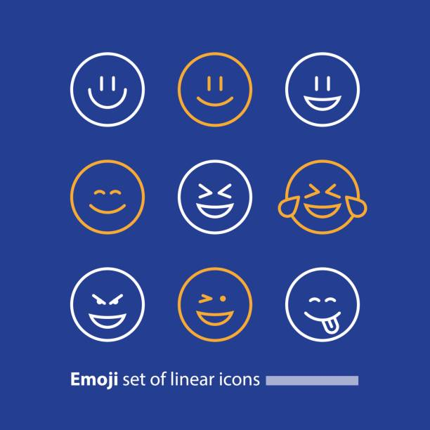 emoji line icons, smile symbol, emotions and feelings expressing - tears of joy emoji stock illustrations