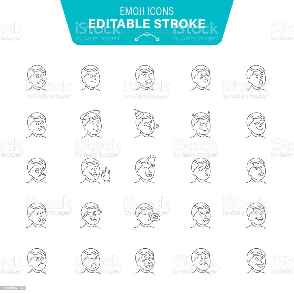 Emoji Line Icons vector art illustration