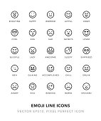 Emoji Line Icons Vector EPS 10 File, Pixel Perfect Icons.