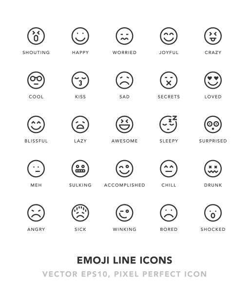 emoji line icons - happy emoji stock illustrations, clip art, cartoons, & icons