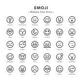 Emoji - Medium Line Icons - Vector EPS 10 File, Pixel Perfect 30 Icons.