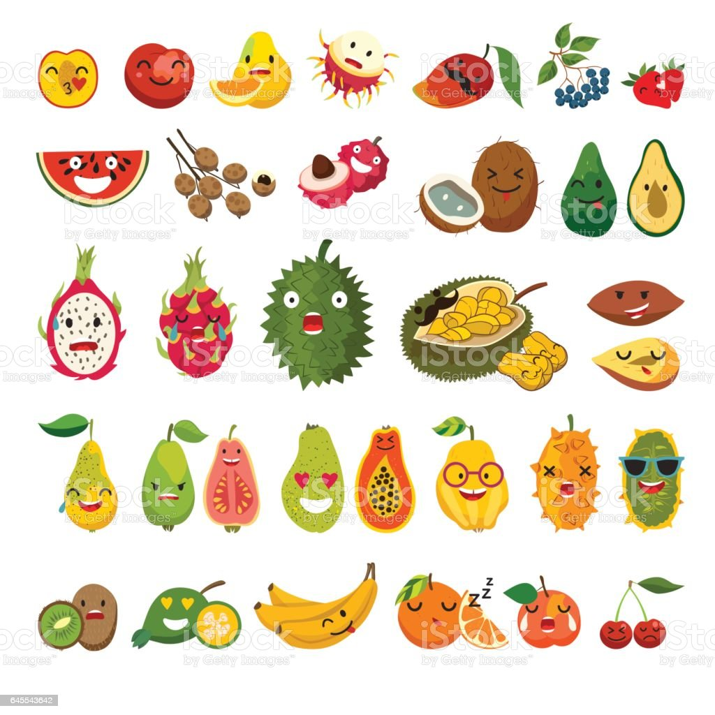 Emoji Of Exotic Fruits Vector Set Cute Funny Stickers Stock