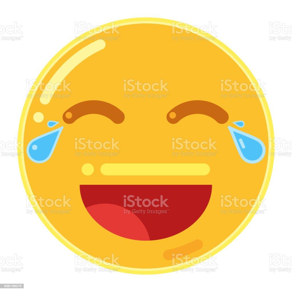 Emoji de cara alegre en diseño plano icono Vector ilustración - ilustración de arte vectorial