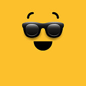 Vector illustration of a cool emoji on a yellow background