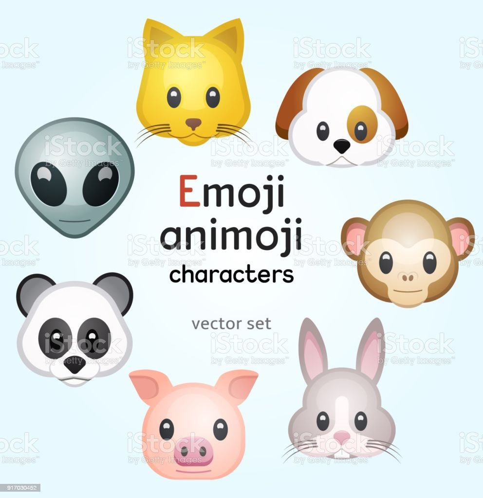 Emoji or animoji animal characters vector art illustration