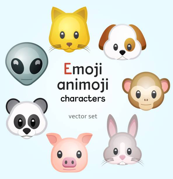 Emoji or animoji animal characters Emoji or animoji animal characters, color vector illustration rabbit animal stock illustrations