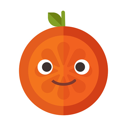 Emoji - orange with happy smile. Isolated vector