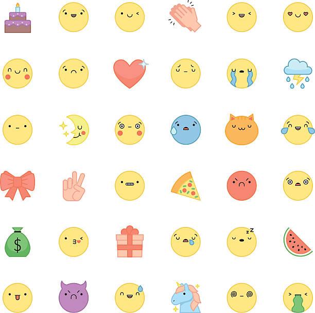 Emoji Outline Icon Vector Set Cute Emoticons And Symbols Stock