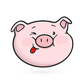 Emoji pig is showing a tongue.