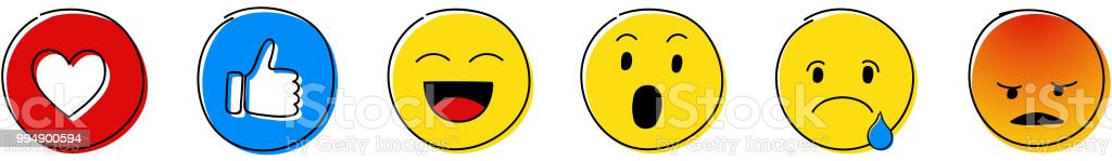 Emoji Reactions Set Of Different Emoticons Vector Stock ...
