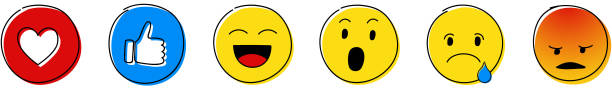 emoji reactions - set of different emoticons. vector. - tears of joy emoji stock illustrations