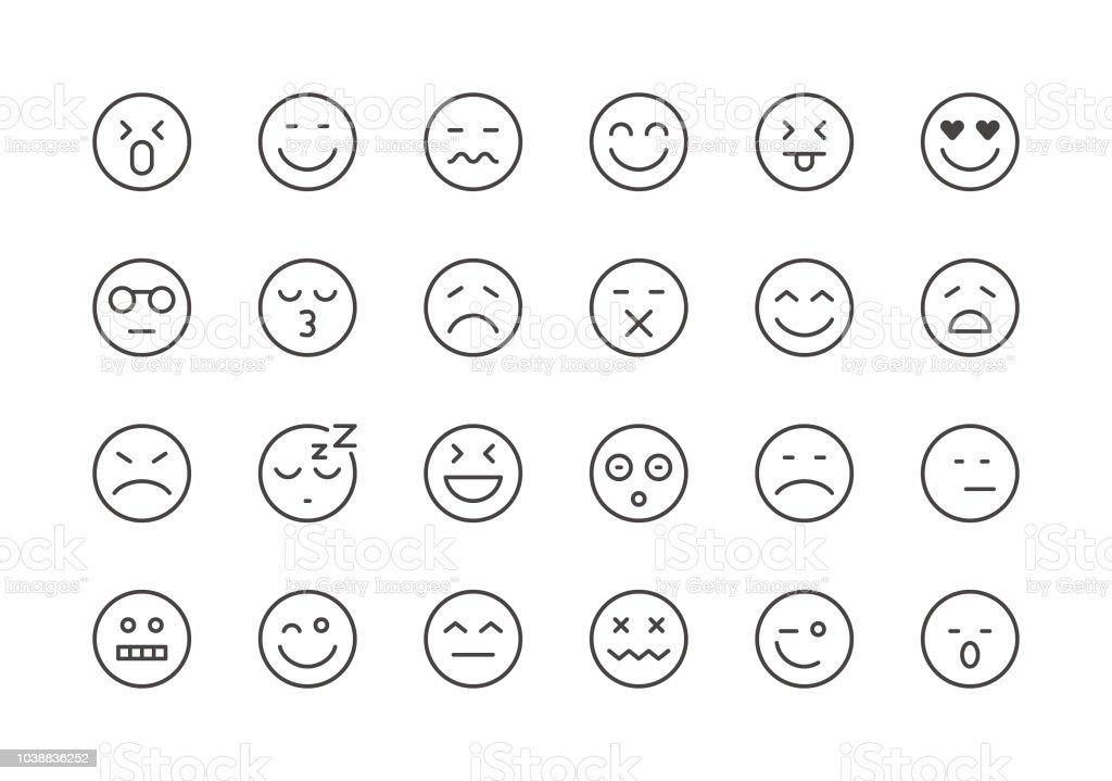 Emoji  - Regular Line Icons vector art illustration