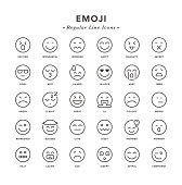 Emoji - Regular Line Icons - Vector EPS 10 File, Pixel Perfect 30 Icons.