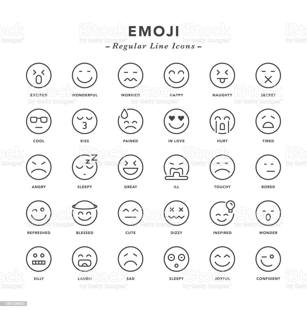 Emoji - Regular Line Icons vector art illustration