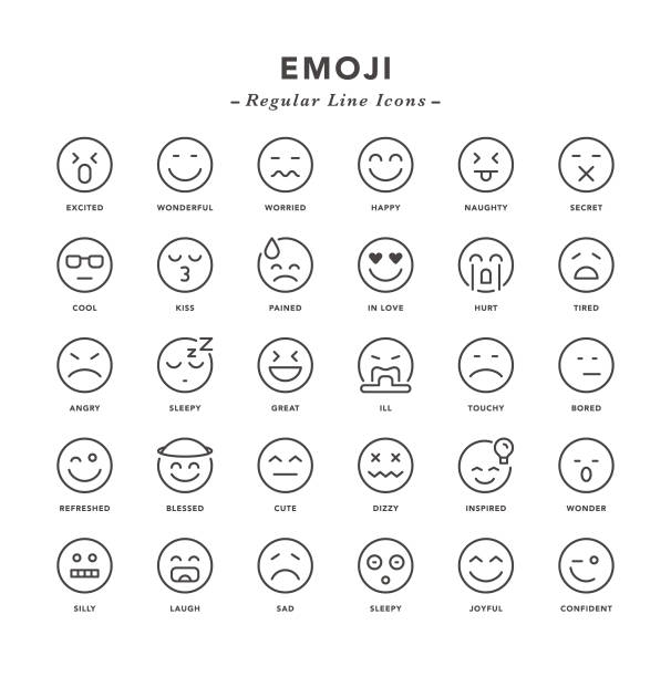 emoji - regular line icons - happy emoji stock illustrations, clip art, cartoons, & icons