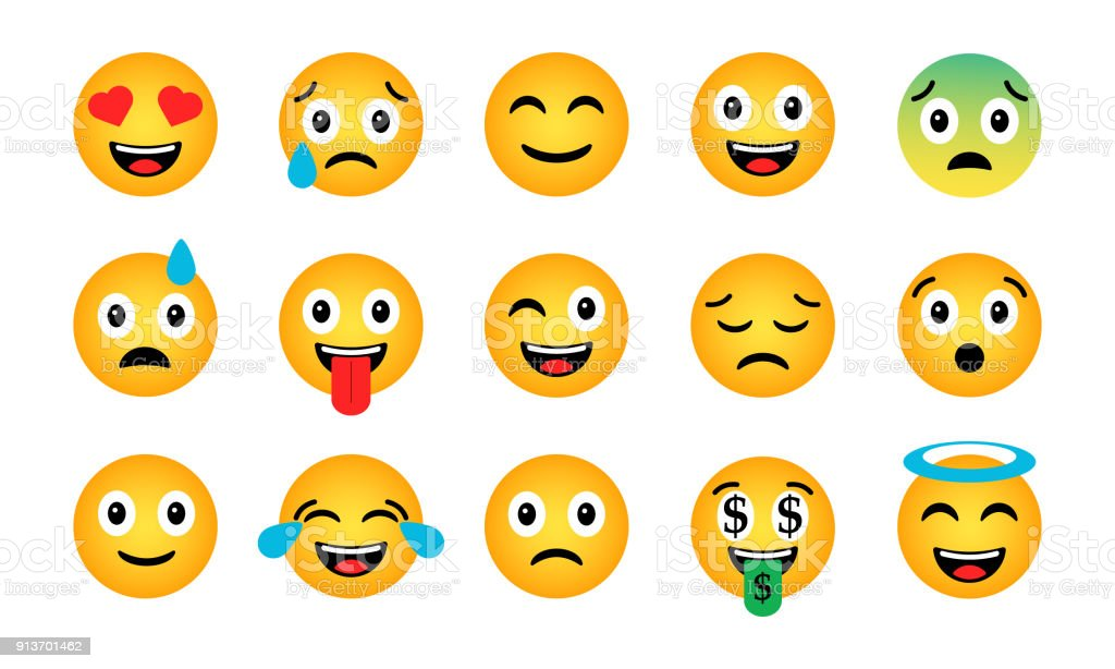 Emoji set. Cute funny emotional icons vector art illustration