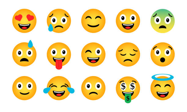 emoji set. cute funny emotional icons - tears of joy emoji stock illustrations
