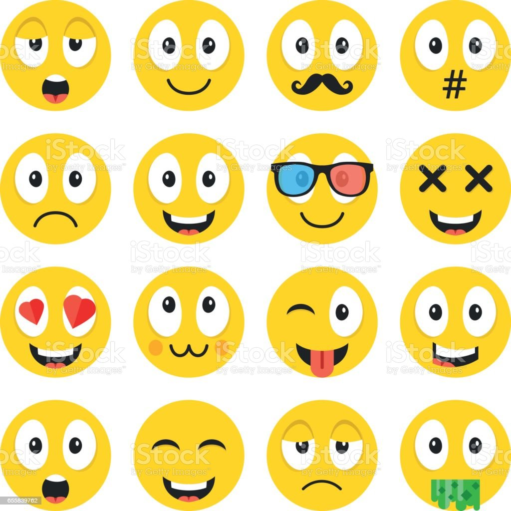 Emoji Set Funny Cartoon Emoticons Cute Smiley Faces With Different