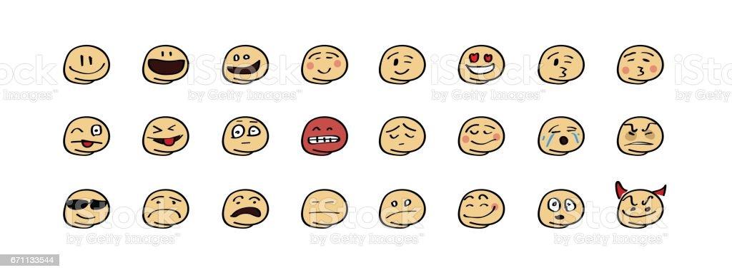 Emoji set hand drawn colorful vector art illustration