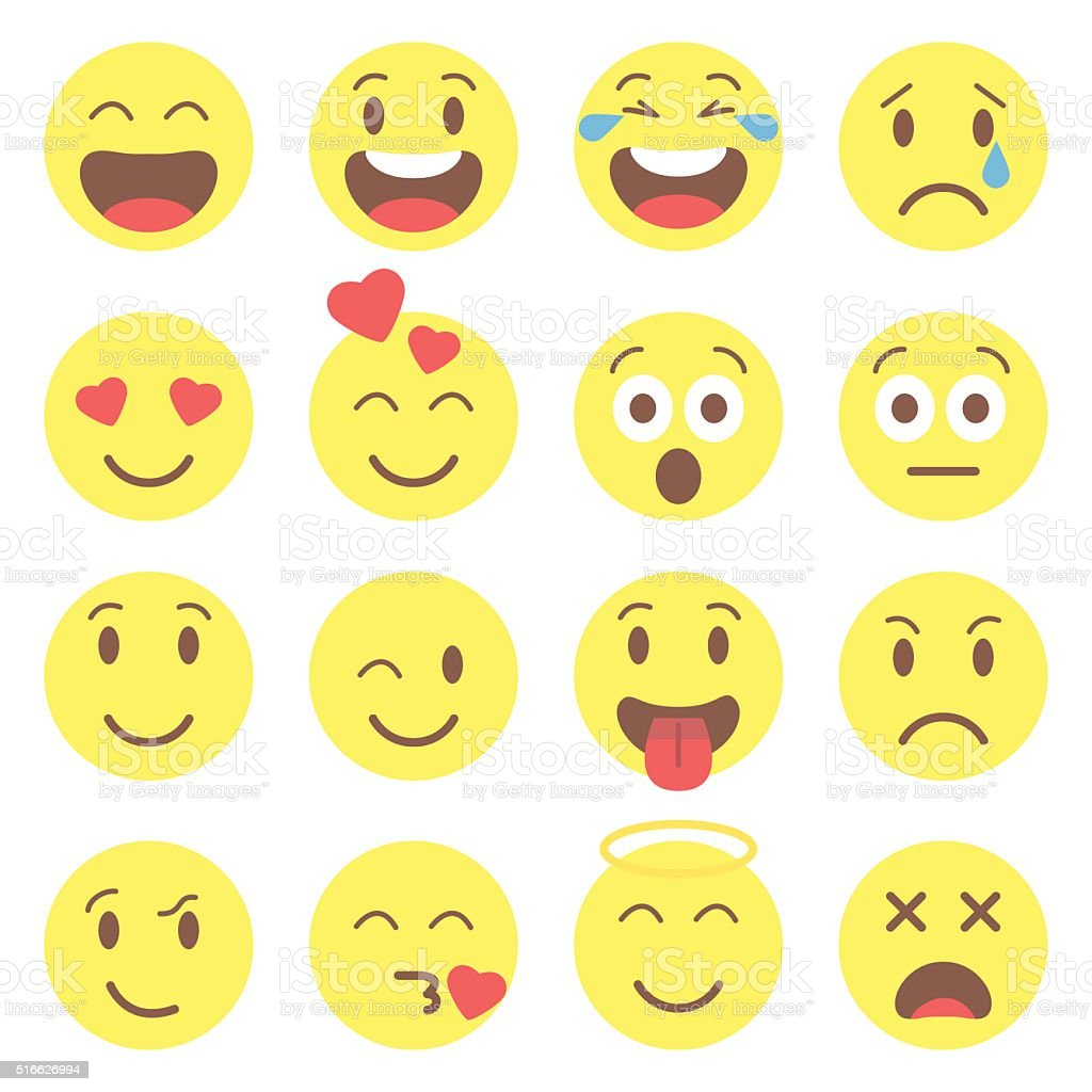 Emoji set icons vector art illustration