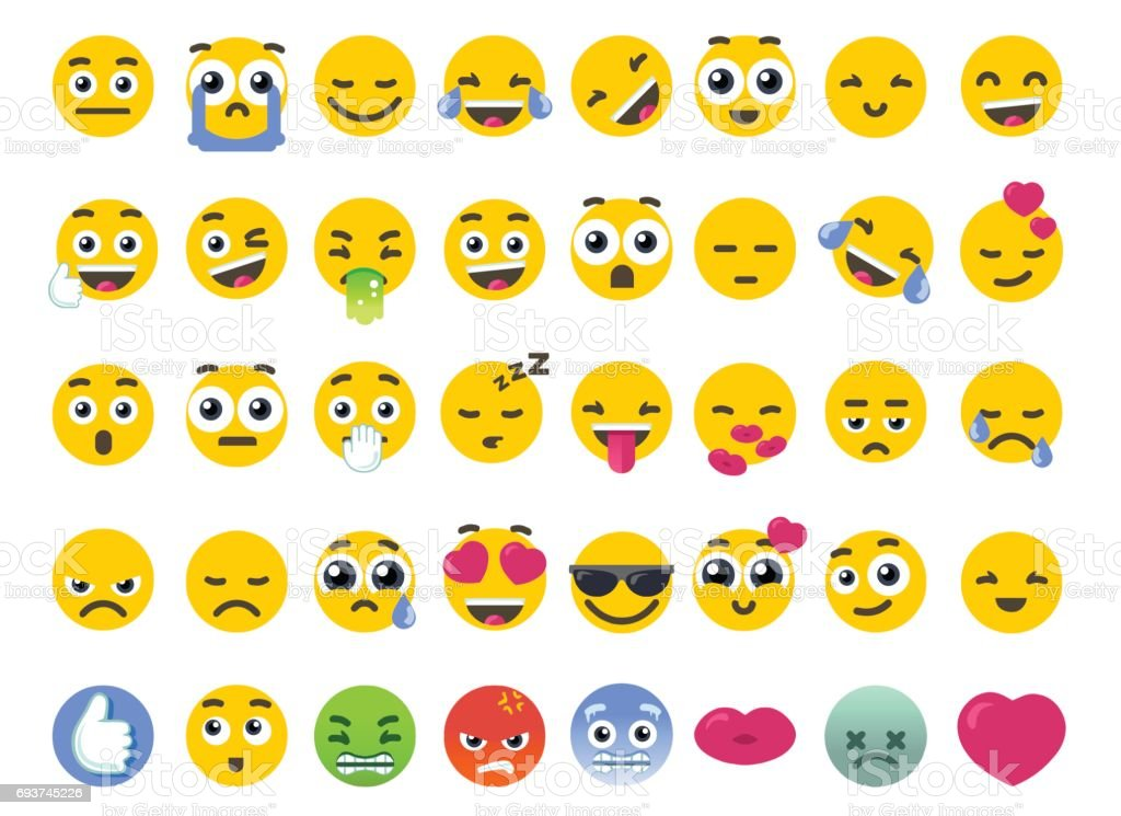 Emoji Set of Isolated on White Vector Emoticons Stickers vector art illustration