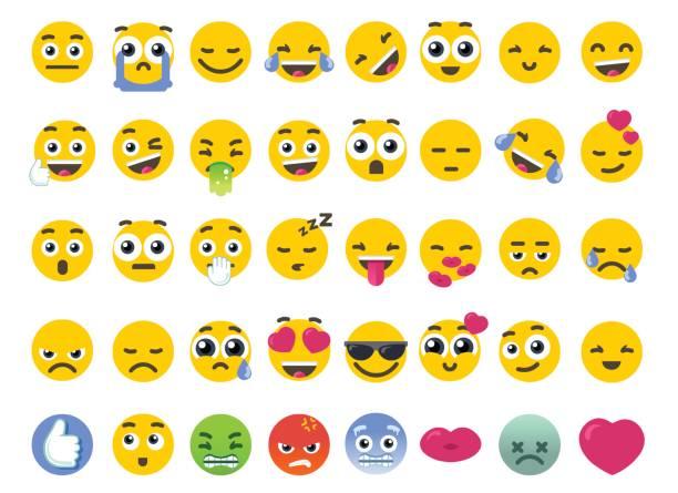 ilustrações de stock, clip art, desenhos animados e ícones de emoji set of isolated on white vector emoticons stickers - consumo exibicionista
