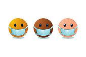 Emoji set with medical mask. Virus protection concept. International people cartoon faces.