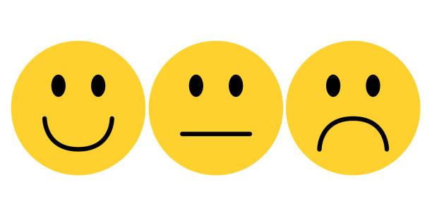 emoji smiley gesicht mit zufriedenheit ebene vektor - smileys zum kopieren stock-grafiken, -clipart, -cartoons und -symbole