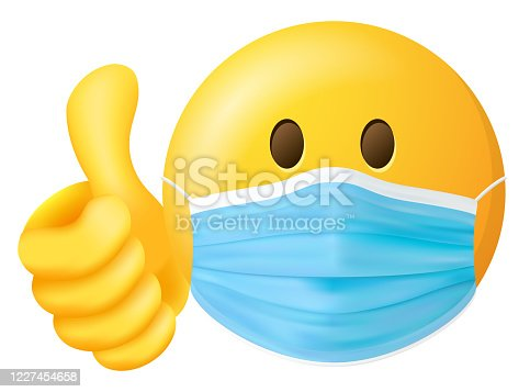 Emoji Smiley with medical doctor mask and thumbs up vector symbol isolated