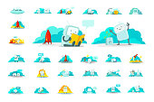Emoji sticker big set character Icon. Baby robot toy cute small robot surprised. Cute Man human spacesuit spaceman Different situations. 404 error not found. Collection set vector stock clipart illustration. Search, mail running and others.