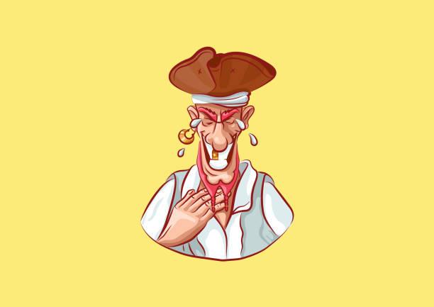 ilustrações de stock, clip art, desenhos animados e ícones de emoji sticker captain mascot laugh - mão no peito