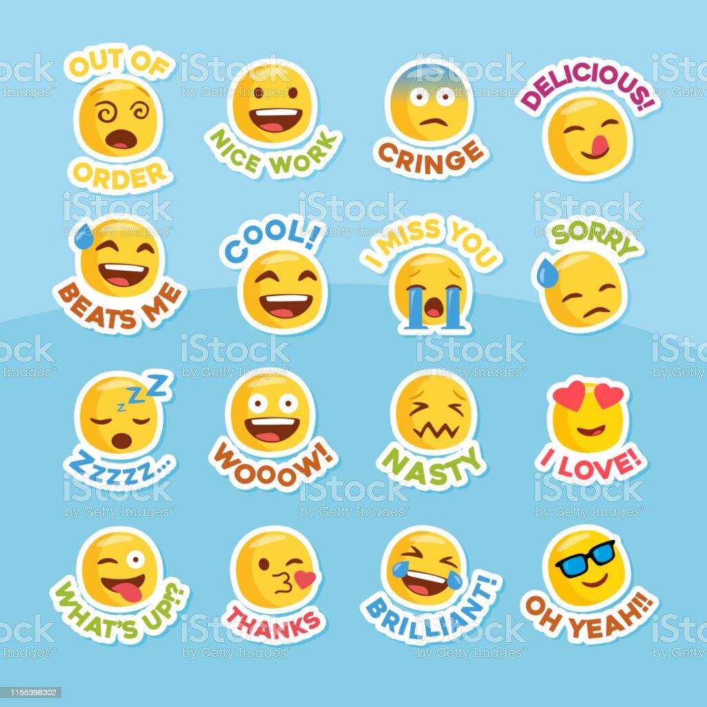 Emoji Sticker Set For Social Network Stock Illustration