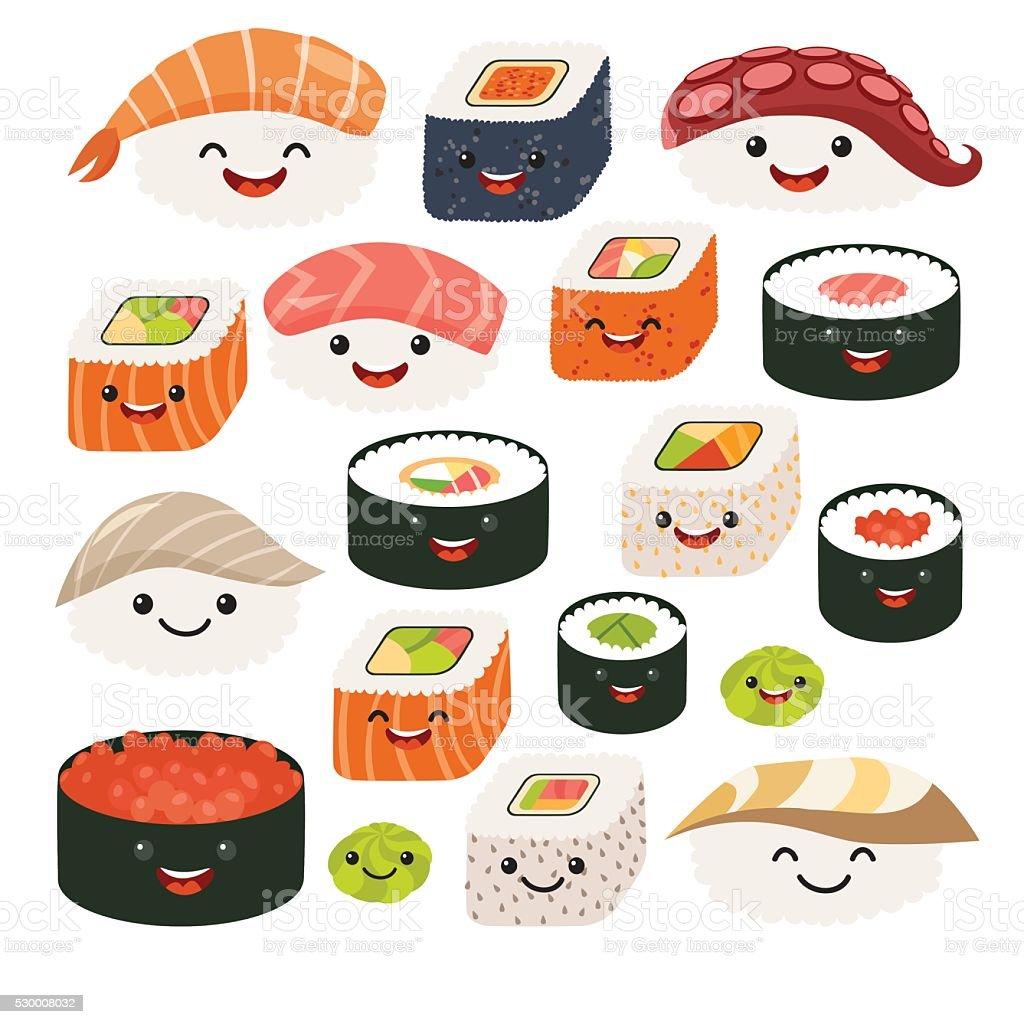 Emoji sushi caracteres historieta comida japonesa. Vector de conjunto Sush - ilustración de arte vectorial