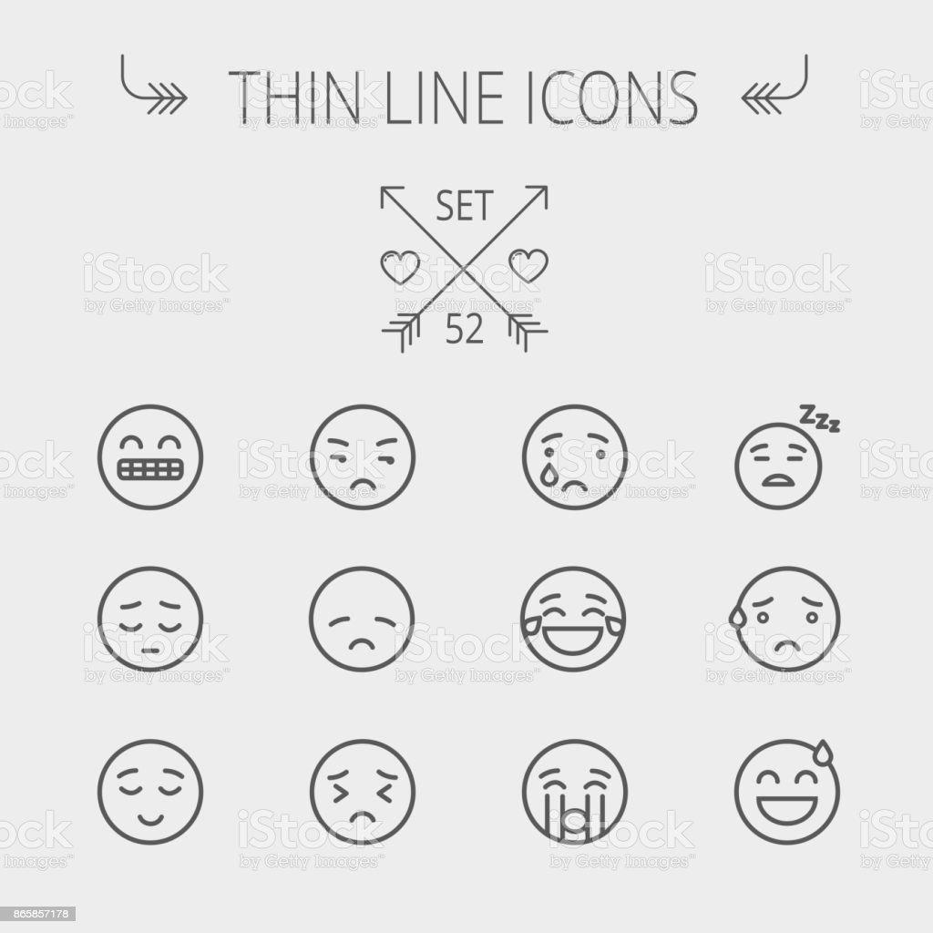 Conjunto de iconos de Emoji delgada línea - ilustración de arte vectorial