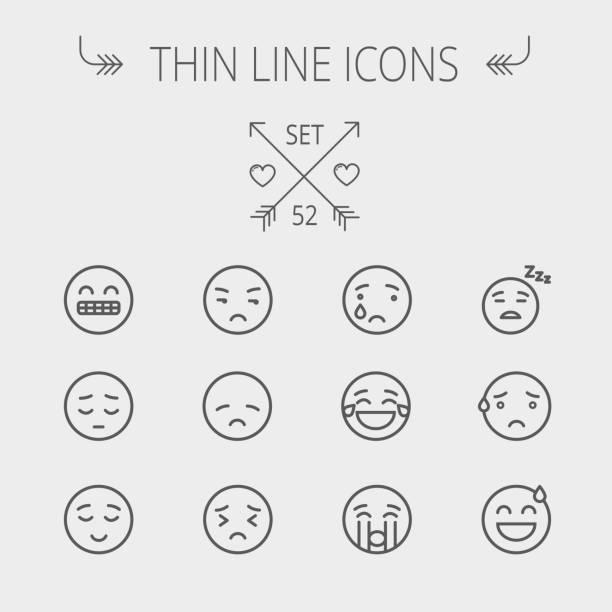 ilustraciones, imágenes clip art, dibujos animados e iconos de stock de conjunto de iconos de emoji delgada línea - lágrimas de emoji alegre