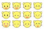emoji vector icon set / cat version